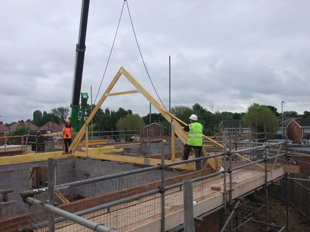 Roof Trusses Being Craned In On The 5 New Homes We Re