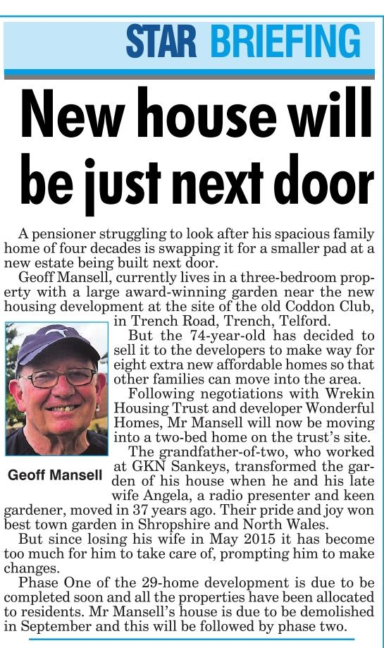 New house will be just next door - Shropshire Star 30th July 2016
